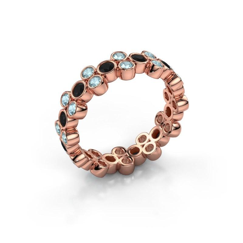 Bague Victoria 585 or rose diamant noir 0.792 crt