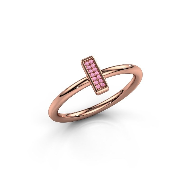 Ring Shape stripe small 375 rose gold pink sapphire 0.8 mm