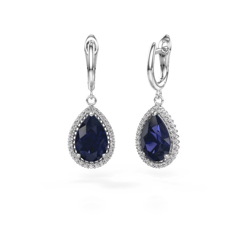 Drop earrings Hana 1 950 platinum sapphire 12x8 mm