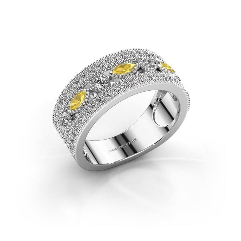 Ring Henna 950 platina gele saffier 4x2 mm