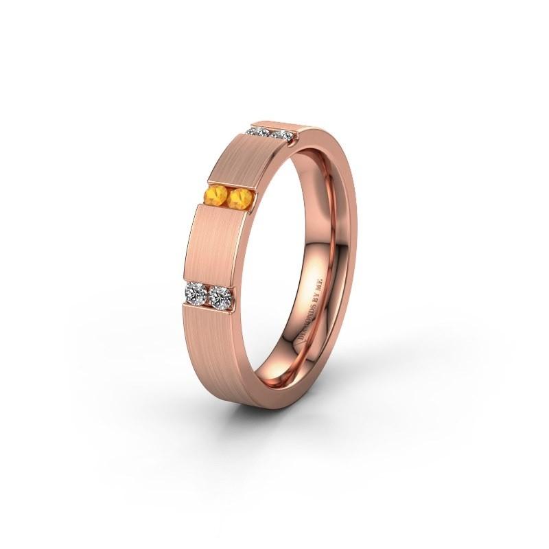 Wedding ring WH2133L14BM 375 rose gold citrin ±4x2.2 mm