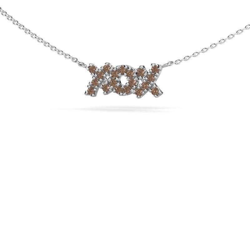 Ketting XoX 585 witgoud bruine diamant 0.285 crt
