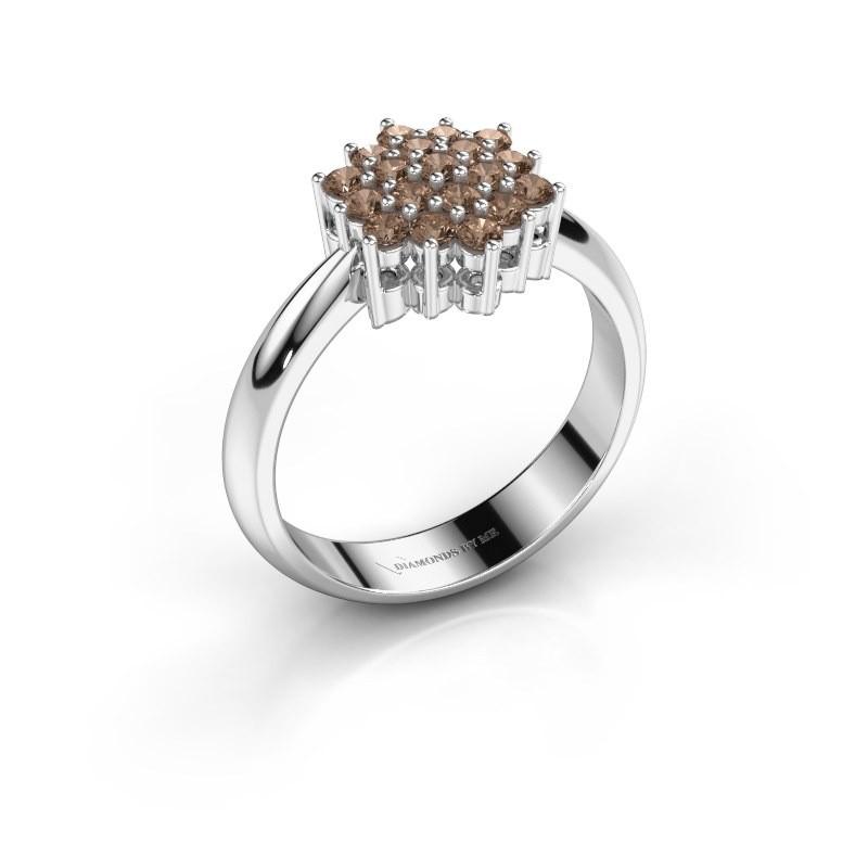 Ring Bente 585 witgoud bruine diamant 0.532 crt