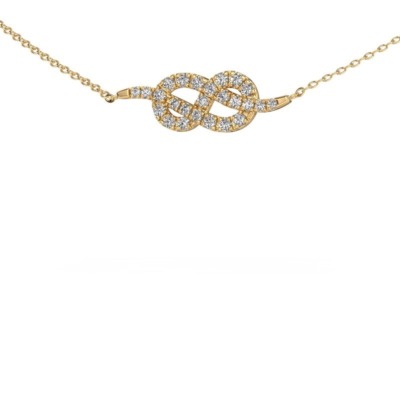 Bar ketting Infinity 1 375 goud zirkonia 1.1 mm