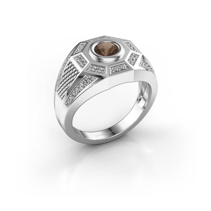Heren ring Enzo 375 witgoud rookkwarts 5 mm