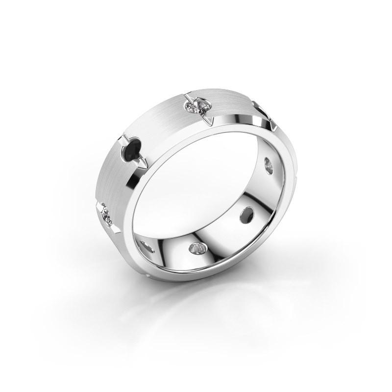 Men's ring Irwin 375 white gold black diamond 0.704 crt