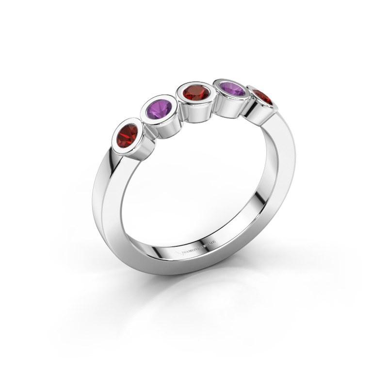 Ring Nova 585 white gold garnet 3 mm
