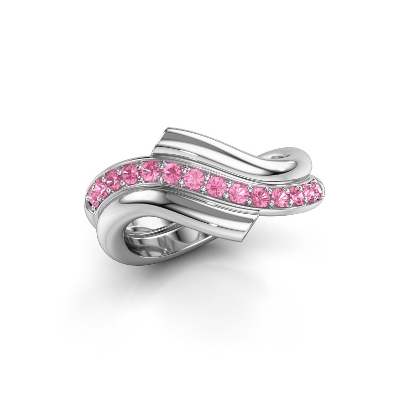 Ring Guusje 925 silver pink sapphire 1.8 mm