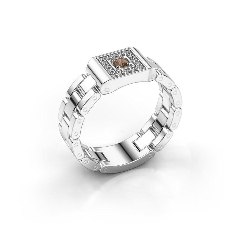 Rolex stijl ring Giel 950 platina bruine diamant 0.20 crt
