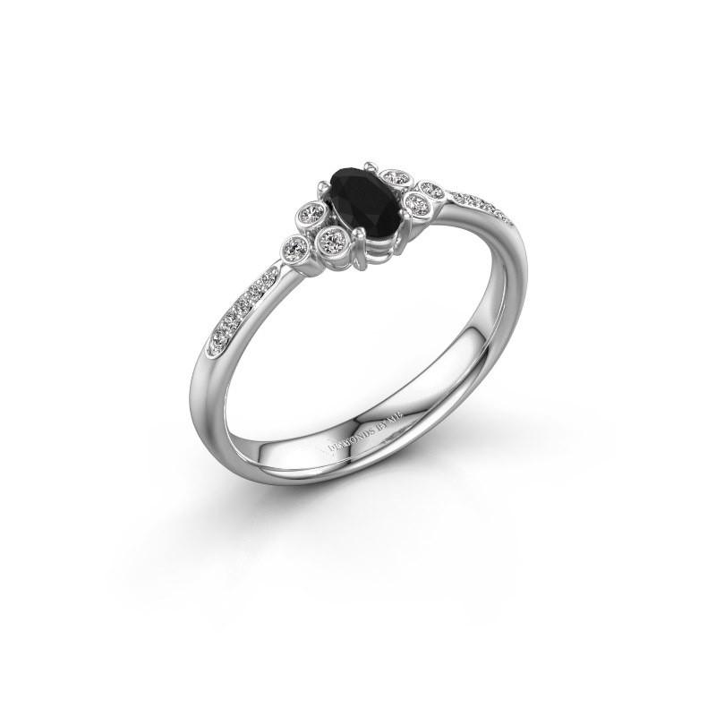 Verlovingsring Lucy 2 585 witgoud zwarte diamant 1.129 crt