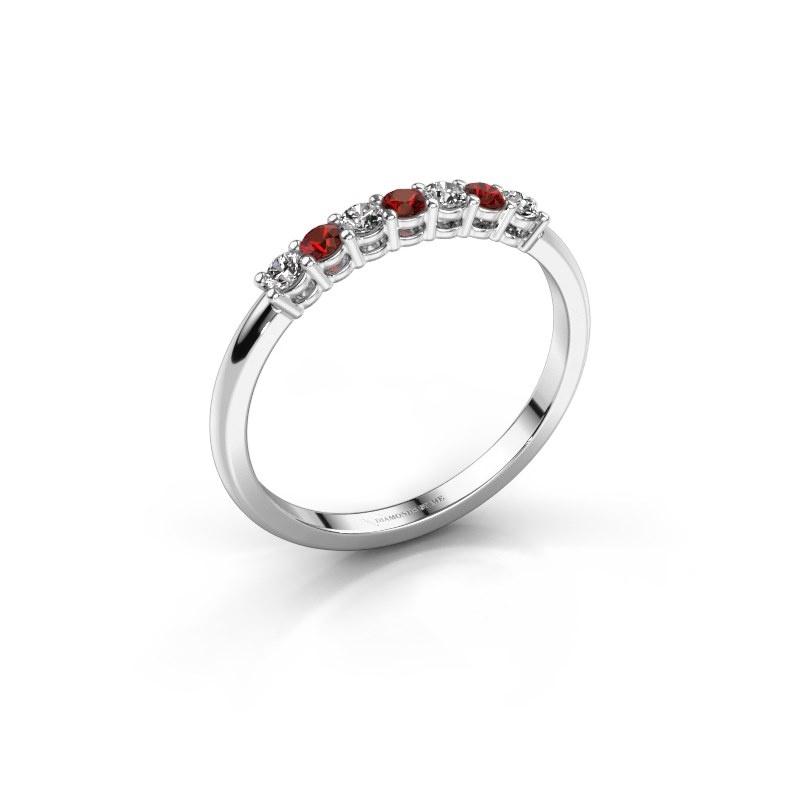 Verlovings ring Michelle 7 585 witgoud granaat 2 mm