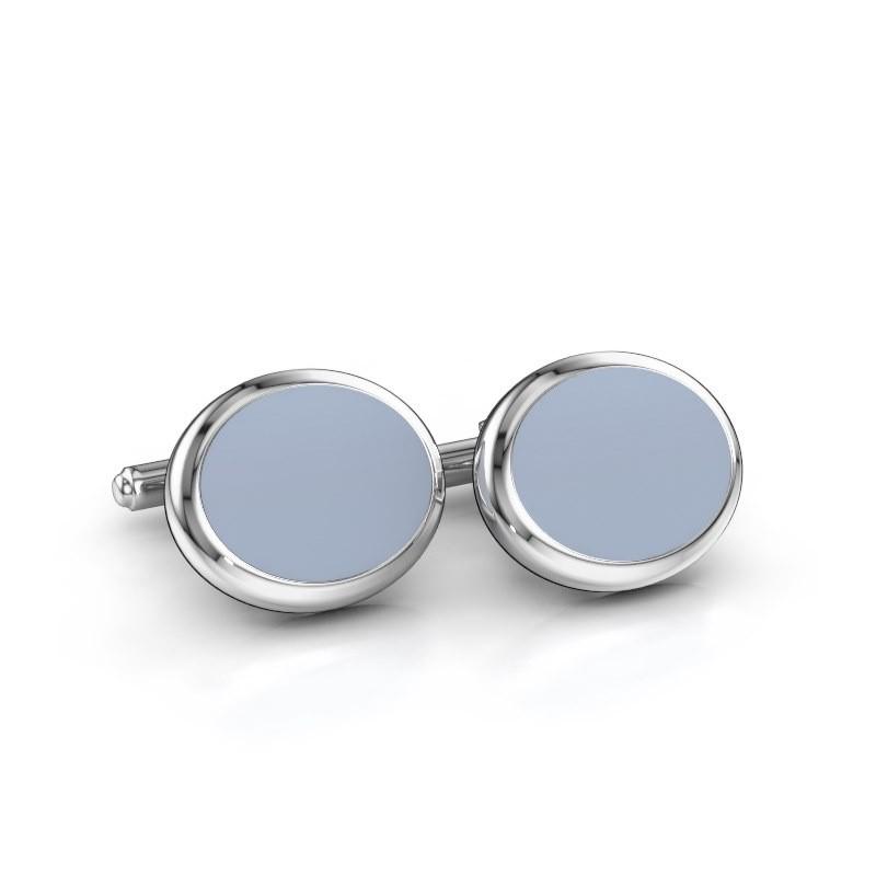 Cufflinks Mario 585 white gold light blue sardonyx 15x12 mm