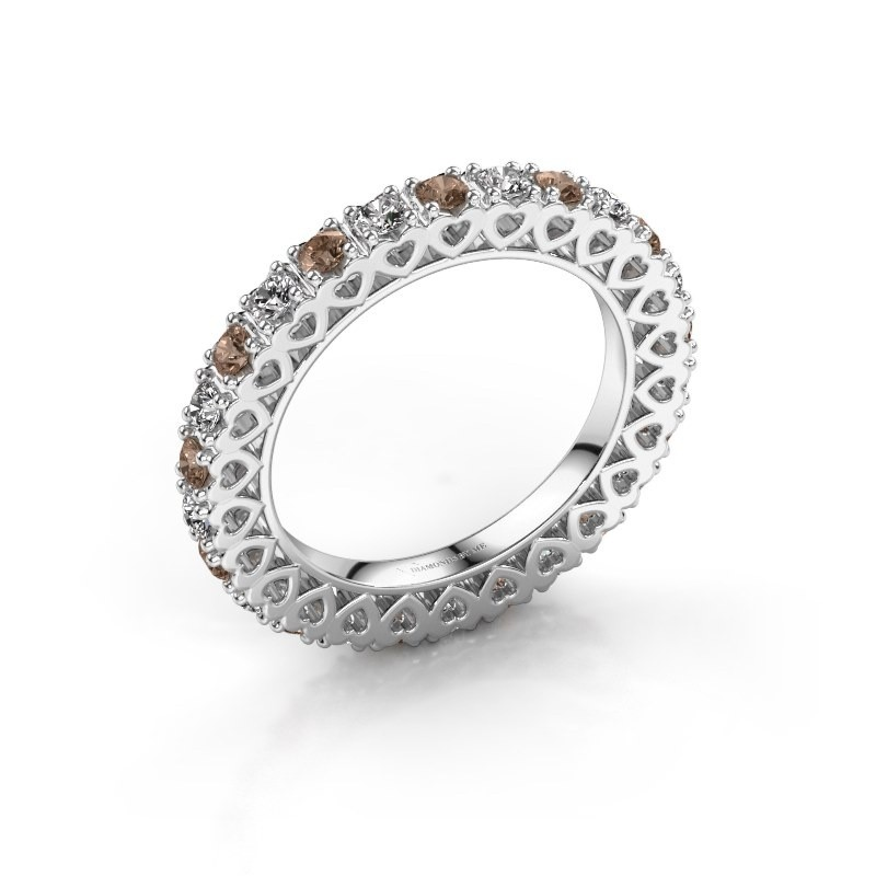 Bague superposable Hailey 585 or blanc diamant brun 1.17 crt