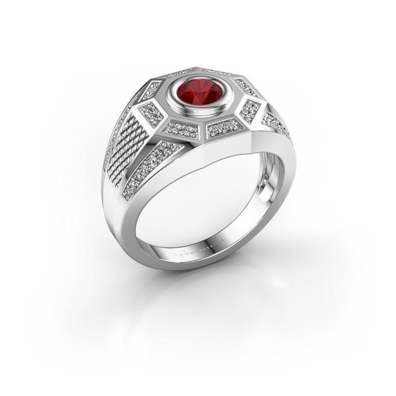 Heren ring Enzo 925 zilver robijn 5 mm