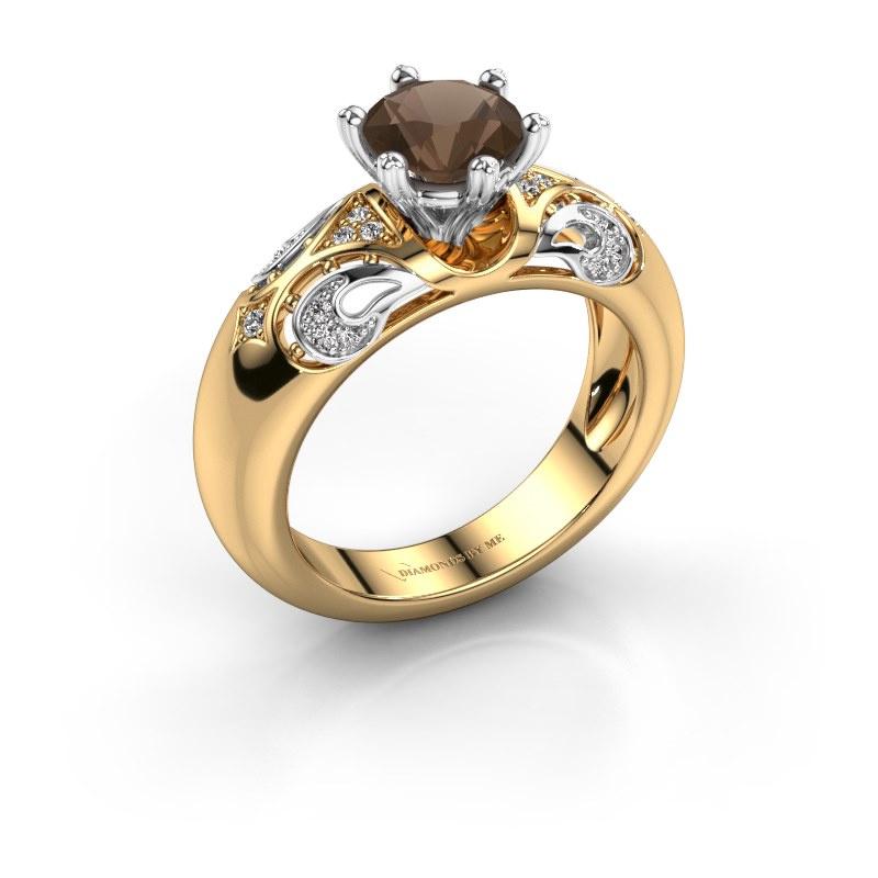 Ring Maya 585 goud rookkwarts 6.5 mm
