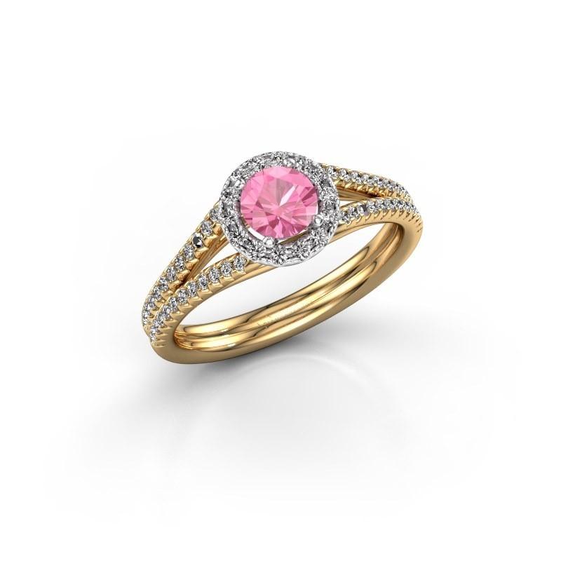 Verlovingsring Verla rnd 2 585 goud roze saffier 4.7 mm