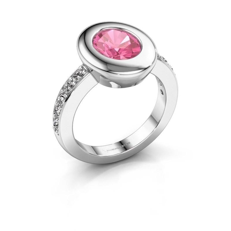 Ring Selene 2 925 zilver roze saffier 9x7 mm