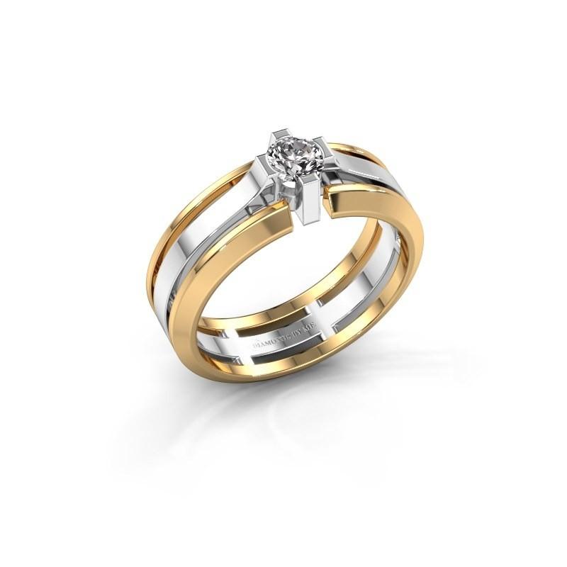 Heren ring Sem 585 witgoud zirkonia 4.7 mm