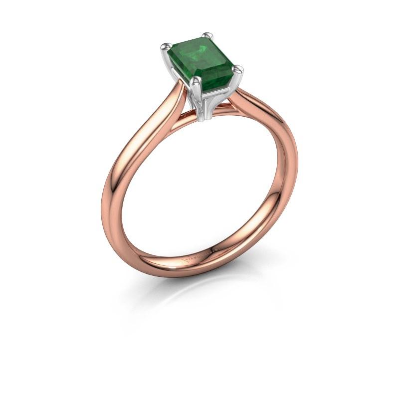 Verlovingsring Mignon eme 1 585 rosé goud smaragd 6.5x4.5 mm