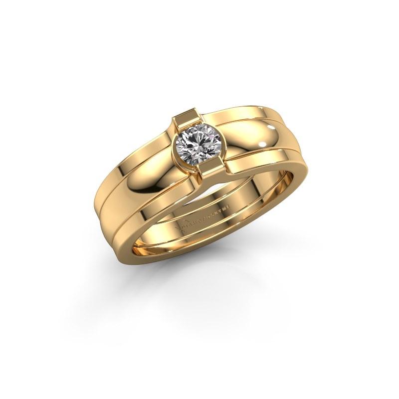 Ring Jade 585 Gold Zirkonia 4 mm