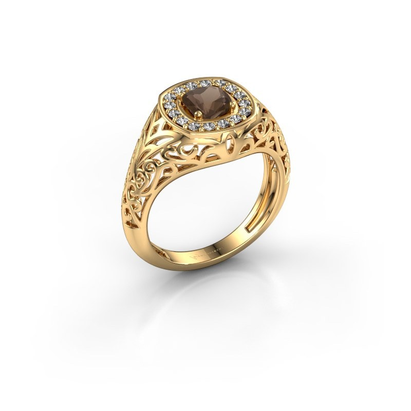 Men's ring Quinten 585 gold smokey quartz 5 mm