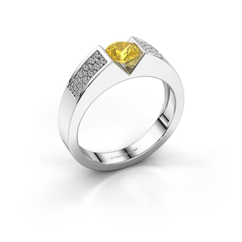 Engagement ring Lizzy 3 585 white gold yellow sapphire 5 mm