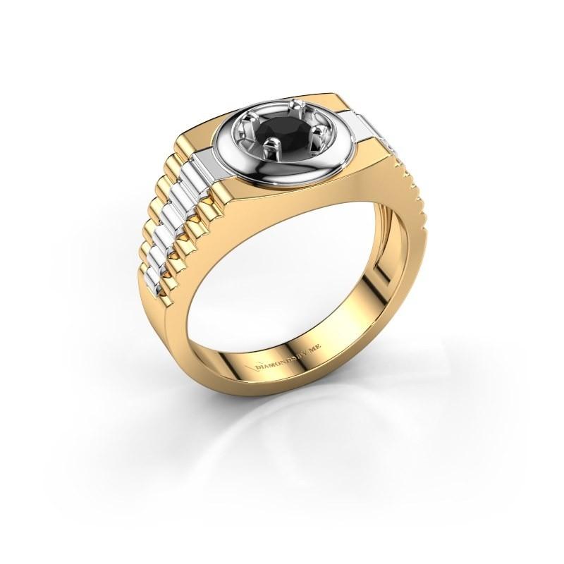 Heren ring Edward 585 goud zwarte diamant 0.48 crt