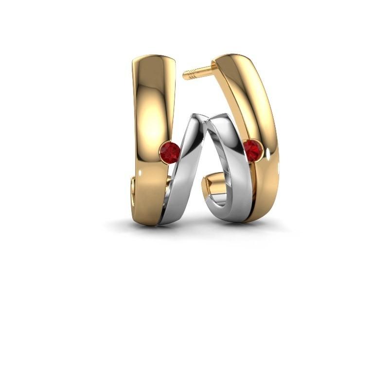 Oorbellen Shela 585 goud robijn 2 mm