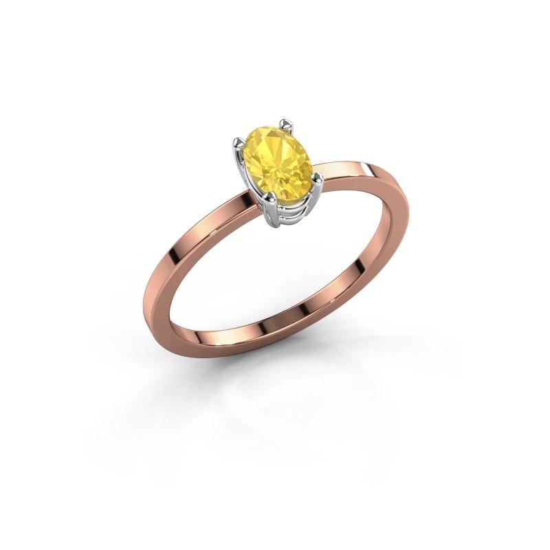 Ring Lynelle 1 585 rosé goud gele saffier 6x4 mm