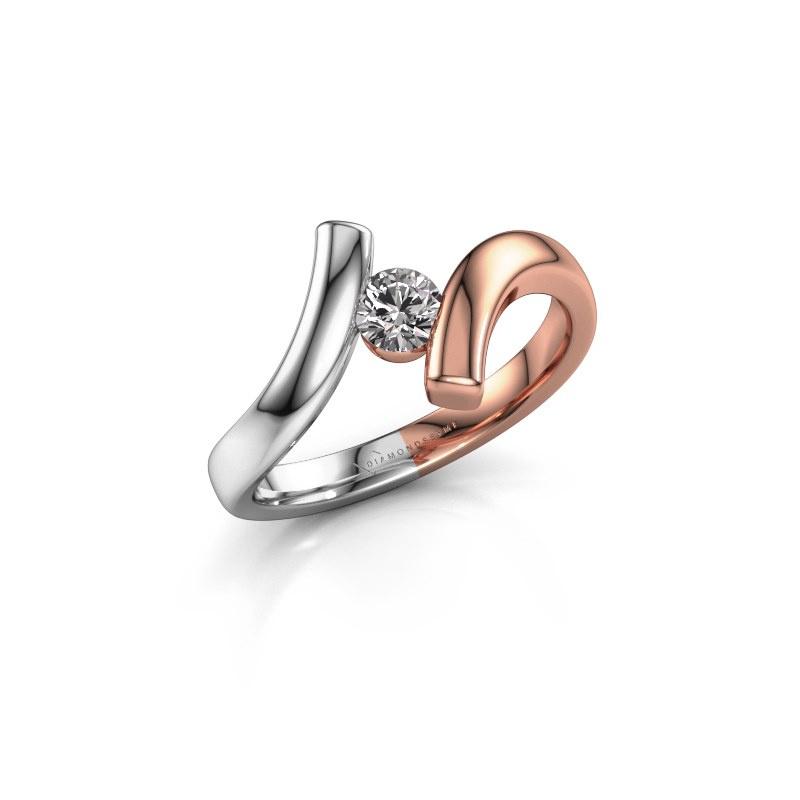 Ring Amy 585 rosé goud diamant 0.25 crt