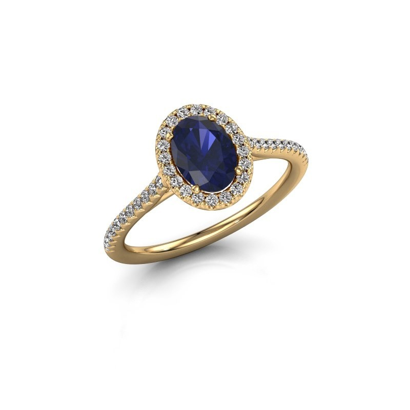 Engagement ring Seline 2 750 gold sapphire 7x5 mm