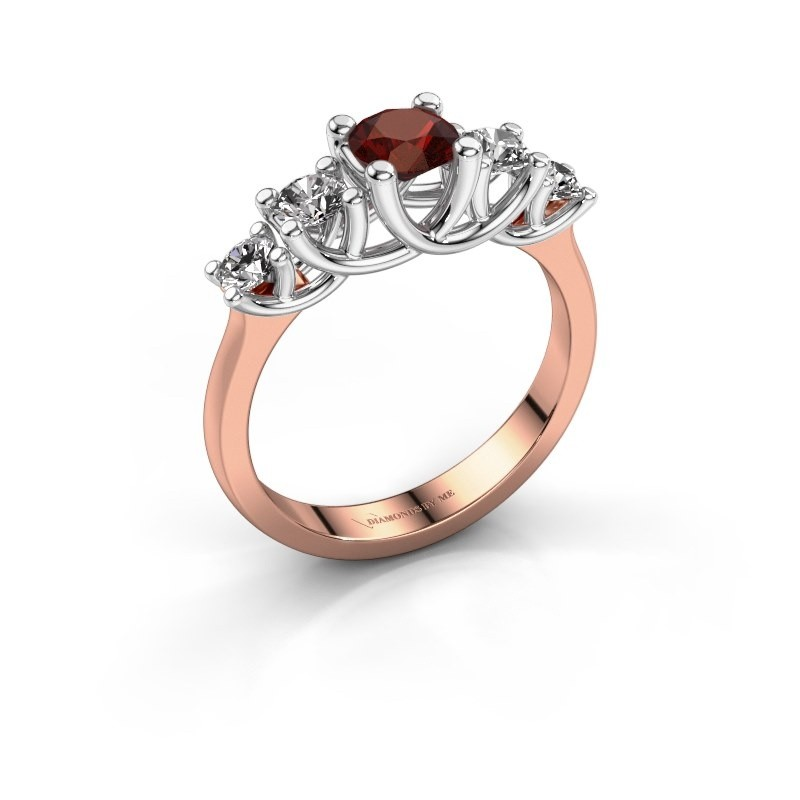 Engagement ring Jet 585 rose gold garnet 5 mm