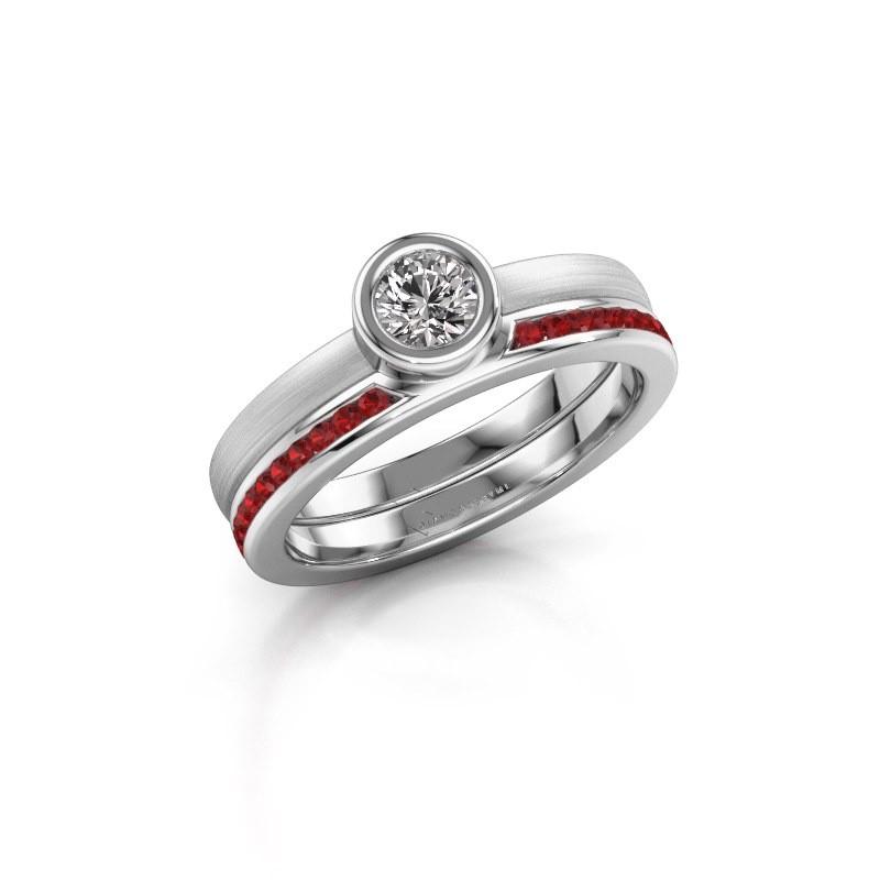 Ring Cara 950 platina robijn 4 mm