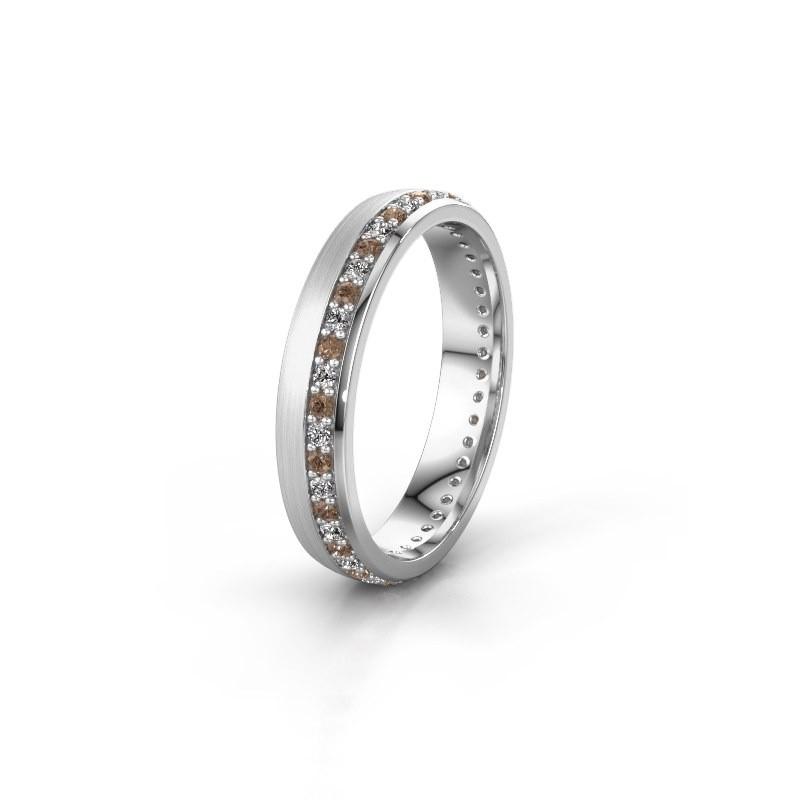 Trouwring WH0303L24AM 925 zilver bruine diamant ±4x1.7 mm