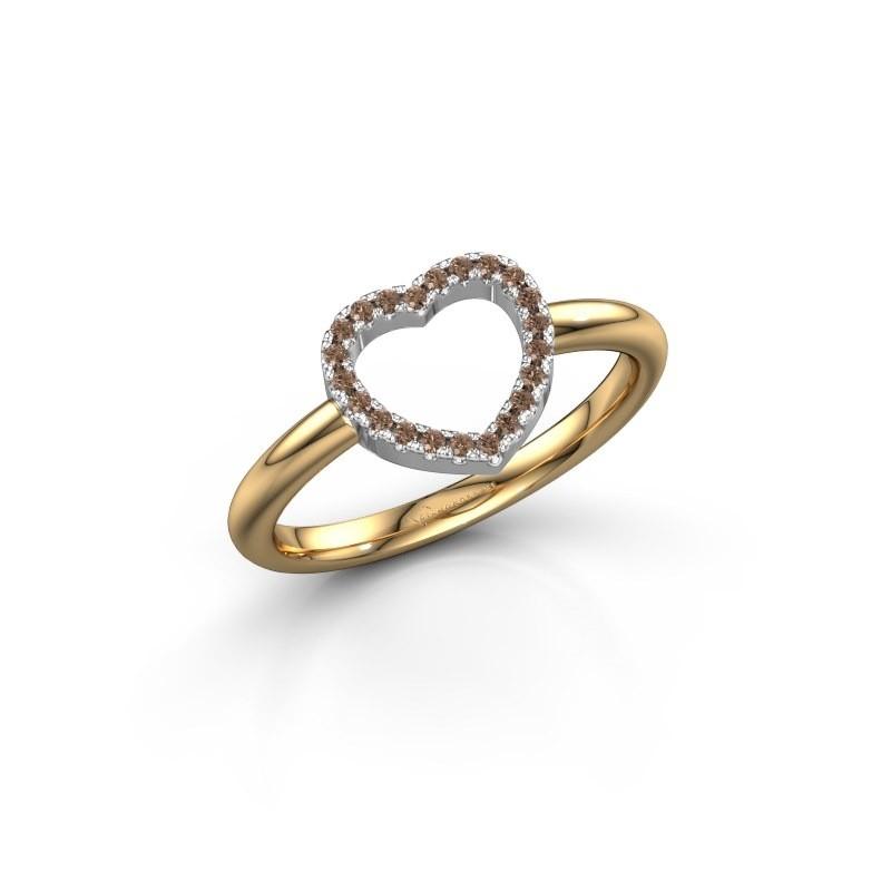Ring Heart 7 585 goud bruine diamant 0.11 crt