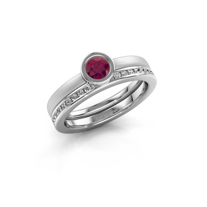 Ring Cara 585 white gold rhodolite 4 mm
