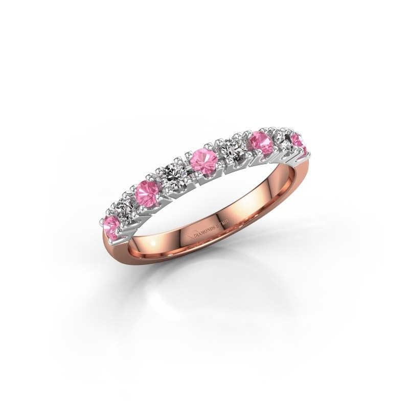 Engagement ring Rianne 9 585 rose gold pink sapphire 2.4 mm
