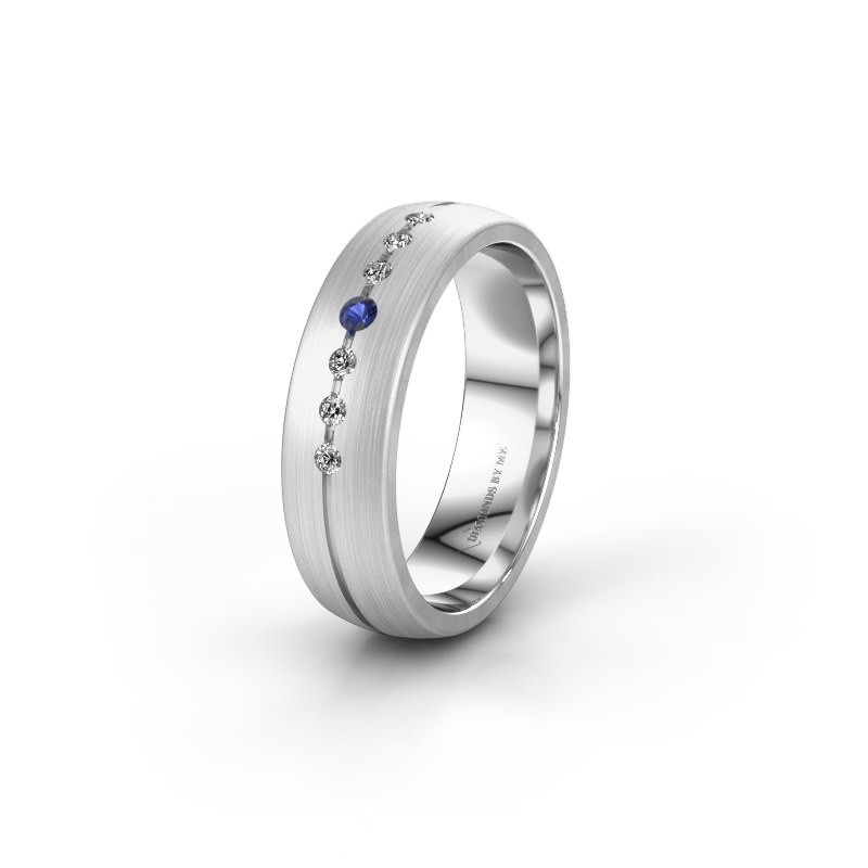 Wedding ring WH0162L25A 925 silver sapphire ±0.22x0.07 in