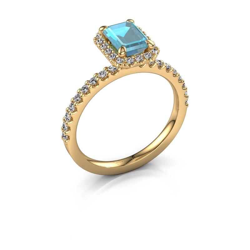 Verlovingsring Miranda eme 585 goud blauw topaas 7x5 mm