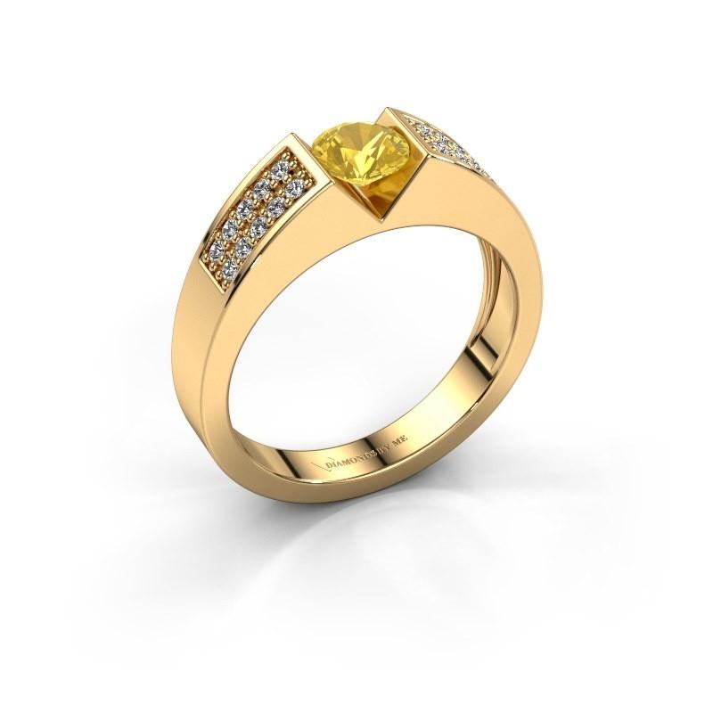 Verlovingsring Lizzy 3 375 goud gele saffier 5 mm