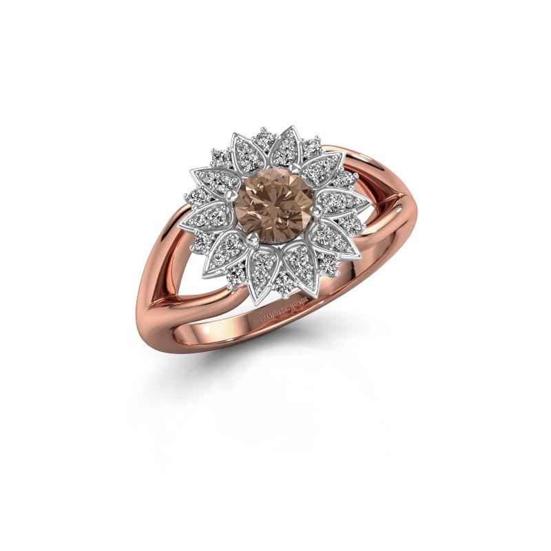 Verlovingsring Chasidy 1 585 rosé goud bruine diamant 0.50 crt