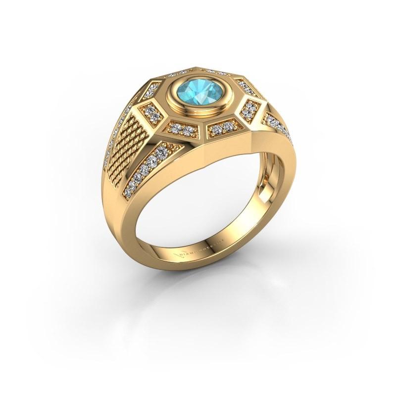 Heren ring Enzo 585 goud blauw topaas 5 mm