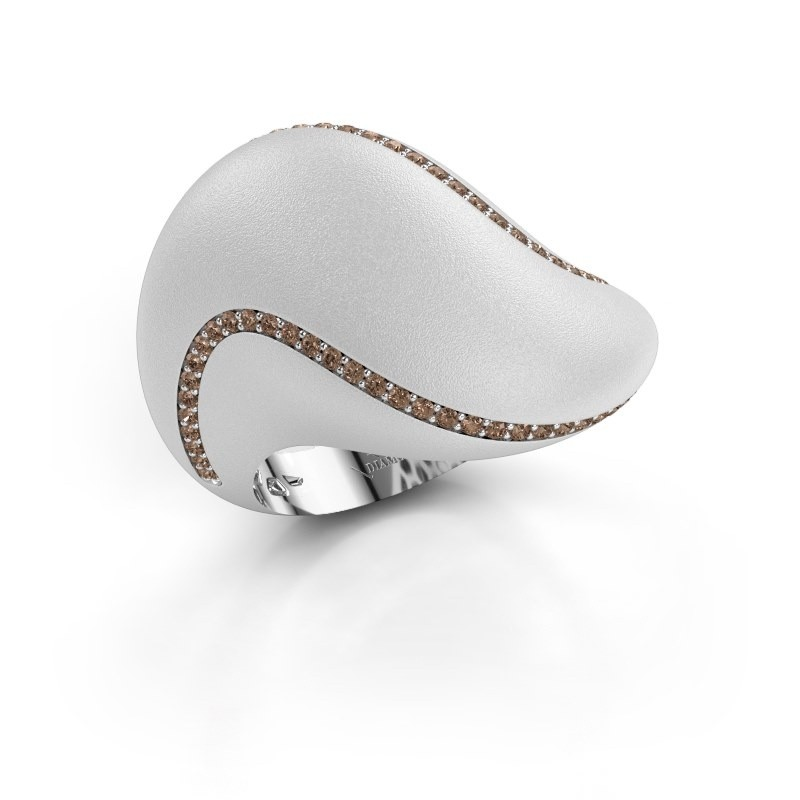 Ring Phyliss 950 platina bruine diamant 0.36 crt