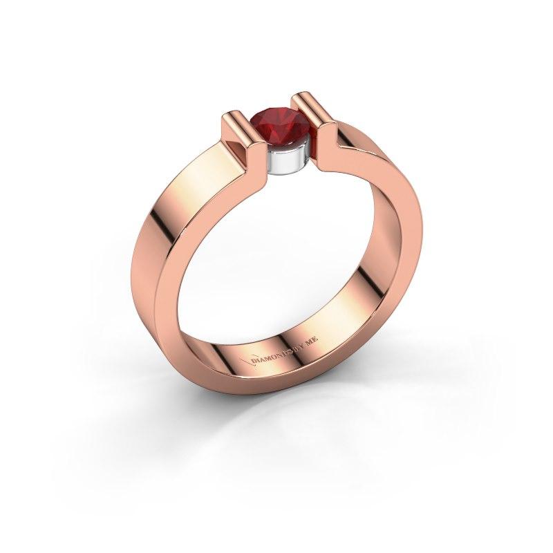 Verlovingsring Isabel 1 585 rosé goud robijn 4 mm