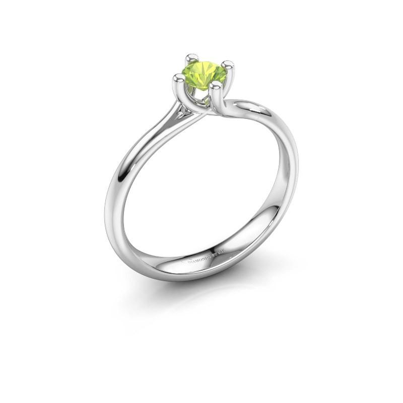 Engagement ring Dewi Round 950 platinum peridot 4 mm