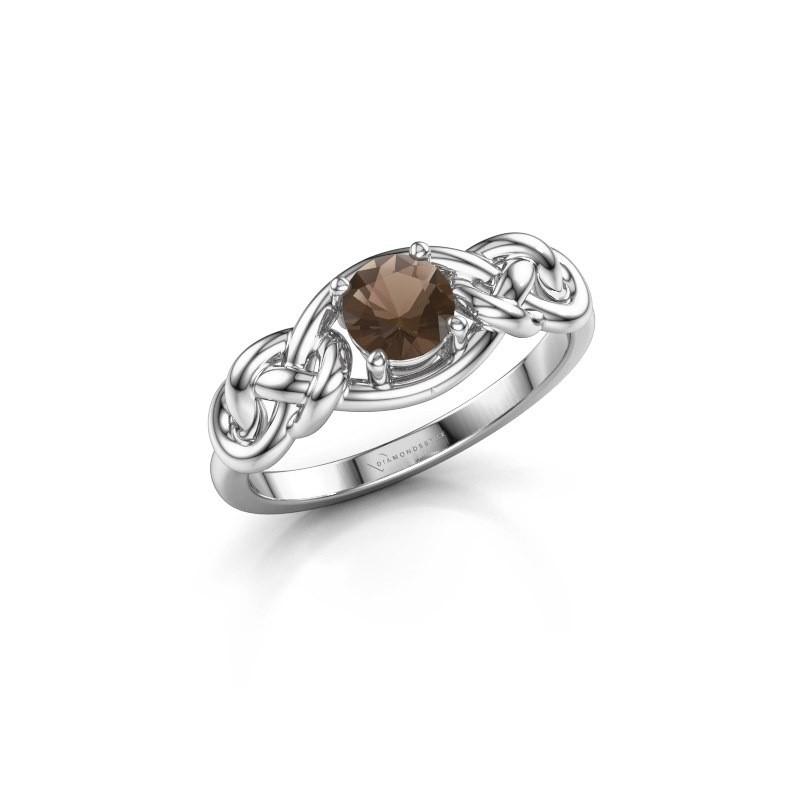 Ring Zoe 585 witgoud rookkwarts 5 mm