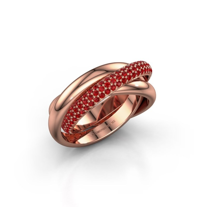 Ring Trinity 2 585 rosé goud robijn 1 mm