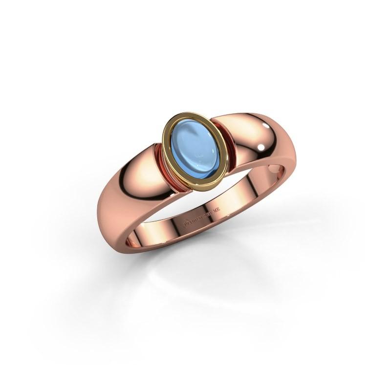 Ring Tonneke 585 rosé goud blauw topaas 6x4 mm
