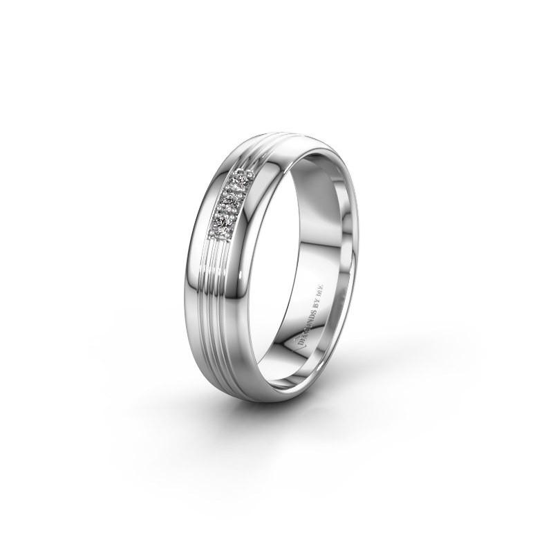 Wedding ring WH0405L35X 925 silver zirconia ±5x1.5 mm