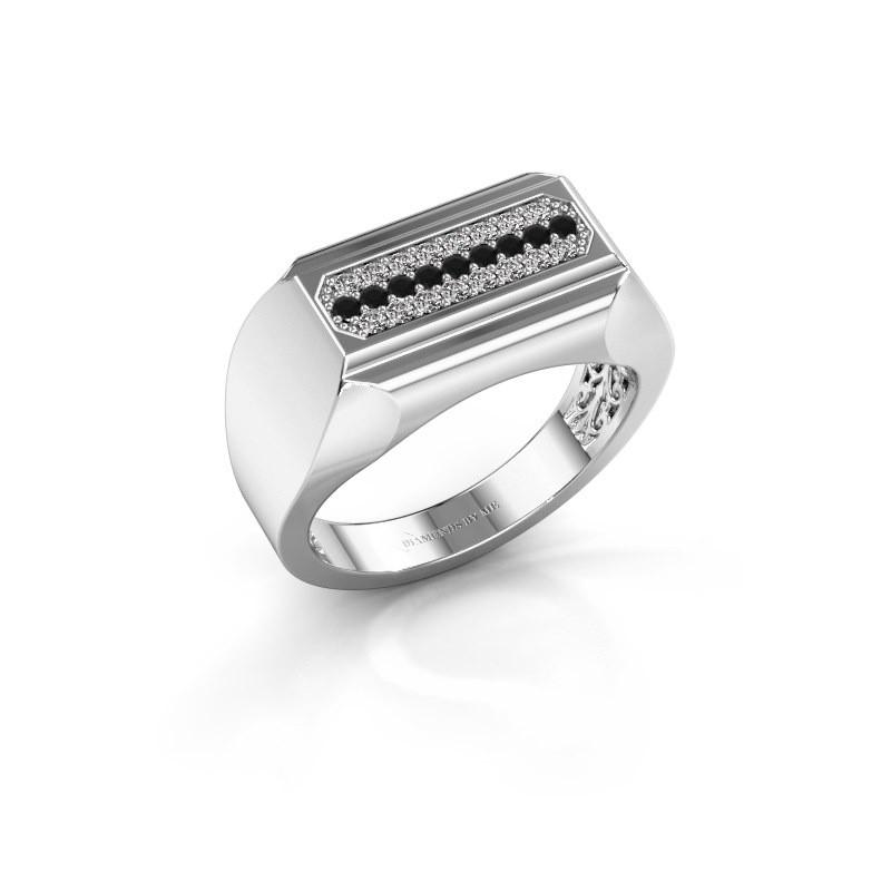 Heren ring Gerard 585 witgoud zwarte diamant 0.322 crt
